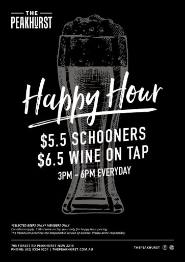 Happy Hour Drink Special - The Peakhurst