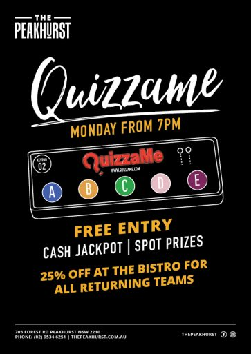 Weekly Quizzame Trivia Night - The Peakhurst