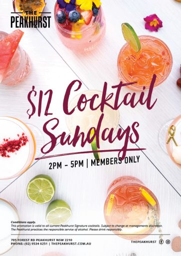 Sunday $12 Cocktail Special - The Peakhurst