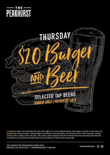 $20 Burger Beer Special - Union Place Hotel