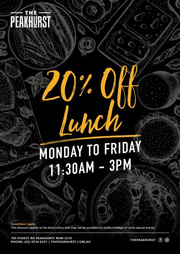 20% Off Lunch Special - The Peakhurst