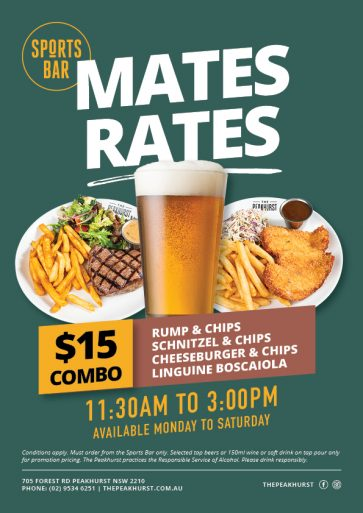 Sports Bar Mates Rates Special - The Peakhurst